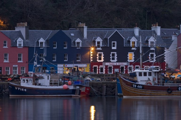 Tobermory village and harbour in winter twilight.