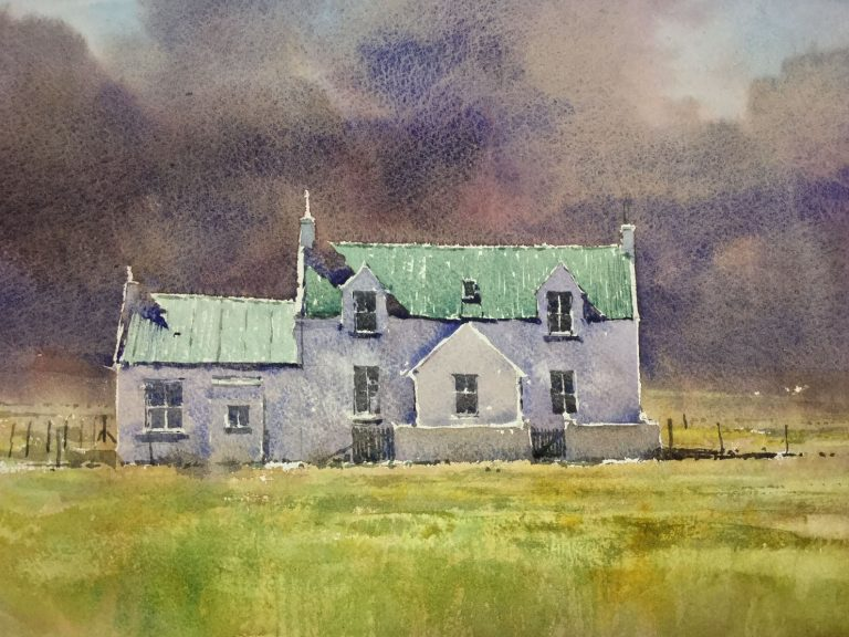 Tiree House with green roof Watercolour Angus Stewart