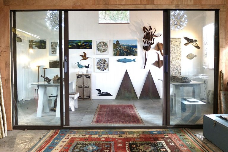 View of the gallery from the workshop - Andy and Helen Mortley